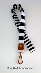 large and middle width black and white stripes leather landyard (STORY QUILT) Tags: blackandwhite leather keyholder lanyard idholder phoneaccesory