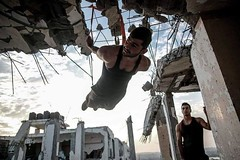 In #Gaza, these young men defy conventions by forming a workout space out of a warzone. (TeamPalestina) Tags: light reflection heritage beautiful night sunrise canon landscape hope landscapes photo am amazing nice nikon photographer natural sweet live palestine innocent dailylife everyday comfort blockade freepalestine palestinian occupation  instagram everydaymiddleeast wpph16