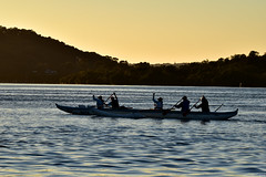 Canoeists on the bay (Merrillie) Tags: blue sea water sunrise boats dawn bay nikon scenery waterfront transport australia canoes views nsw rowing centralcoast daybreak canoeists rowers brisbanewater woywoy d5500 nswcentralcoast centralcoastnsw