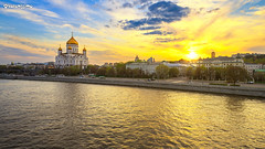 Moscow, Russia. , . (kotenissimo) Tags: street blue sunset sky orange sun church water yellow clouds river evening spring glow view russia moscow faith religion dome embankment templeofchristthesavior