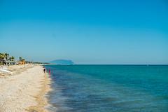 Blue Beach (Leonardo Caggianelli) Tags: blue sea summer sky italy mountain beach colors landscape italia day samsung sunny marche samsungnx samsungnx3000