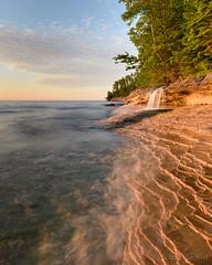 Elliot Falls Sunset - Miners Beach (2016-06-16 1353) (bechtelsf) Tags: light sunset sky texture waterfall nikon michigan shore upperpeninsula picturedrocksnationallakeshore d810