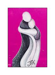 Graffiti (Jennifer Dickson-Katori), East London, England. (Joseph O'Malley64) Tags: uk greatbritain england streetart london pasteup love graffiti sticker couple panel britain british embrace jdk eastend eastlondon penink woodenpanel jenniferdicksonkatori