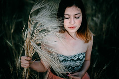 The girl with spikelets (Alex Karamanov) Tags: portrait people girl light mood atmosphere art color vsco crimea her indoor melancholy black outdoor seaside landscape grass field feelings friends contrast nature tenderness summer surreal wheat spikelets