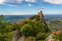 "The ""hat"" of the fortress (dmitrii_efremenkov) Tags: clouds fortress guaita italy italia history historical san marino travel tourism tower sky"