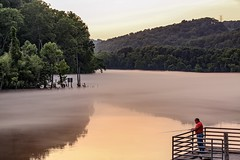 (zumponer) Tags: trees sunset red sunlight mist lake fish reflection tree green water canon river fisherman tennessee hills fullframe dslr hdr vapor watervapor canon5dmarkii