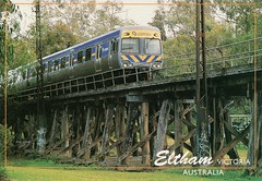 Eltham Victoria Australia (Liz Pidgeon) Tags: eltham trestlebridge postcard train