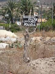 Keeping them out (stevenbrandist) Tags: spain costablanca espana holiday sign policia land trespass spanish police