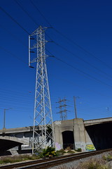 101 Freeway Bridge (jjldickinson) Tags: bridge tower walking losangeles energy hiking cable 101 freeway electricity powerline losangelesriver lariver transmissionline boyleheights hightensionline santaanafreeway nikond3300 promaster52mmdigitalhdprotectionfilter 100d3300 nikon1855mmf3556gvriiafsdxnikkor 10bridgeswalk
