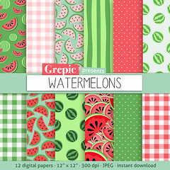 "Watermelon digital paper: ""WATERMELONS"" digital paper pack with red, green and pink watermelon backgrounds and textures, gingham, polkadots (workyourart) Tags: pink green texture water fruit digital paper background watermelon melon slices watermelons"