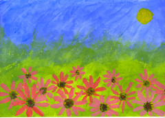 field of daisies (Eric.Ray) Tags: painting drawing sketch acrylic daisies doodle blue green yellow red