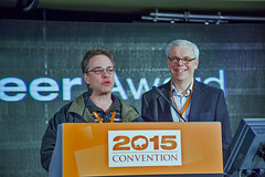 2015-03-07 Tom Nevakshonoff accepts Pioneer Award on behalf of Len Evans