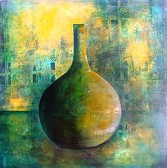 green bottle (Birgit.Riemann) Tags: art stillleben paint acrylic modernart kunst paintings canvas gelb vase grün birgit acryl 2014 malerei leinwand gemälde riemann zeitgenössischekunst acrylbild acrylbilder acrylart