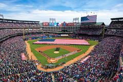 2015 Texas Rangers Home Opener (markwhitt) Tags: people usa nikon texas baseball flag crowd americanflag celebration rangers texasrangers ballpark openingday ballfield mlb d800 arllington 1424mm ballparkuwa markwhitt markwhittphotography globelifepark