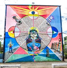Meli Wuayra (camila.acevedo95) Tags: chile streetart mural arte sanmiguel murales rapanui mapuche muralpainting artecallejero onas arteurbano muralismo aymara muralism museoacieloabierto aislap meliwuayra