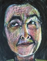 Roberta - take III (Gila Mosaics n'stuff) Tags: portrait art glasses artist prismacolor onblack portraitparty jkpp