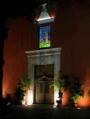 Santa Lucia Church (Kelly Rene) Tags: light orange church night mexico outdoor yucatan stainedglass merida northamerica quaint santaluciachurch