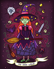 Cute Little Witch Halloween Illustration (apolinarias) Tags: cute art halloween illustration little witch vector shutterstock