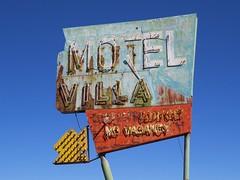 Motel Villa Sign (Larry Myhre) Tags: arizona sign vintage globe neon rusty weathered motelvilla desertghosts