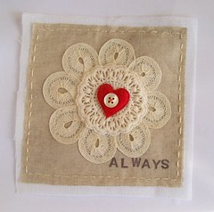 Textile experiment (art angel 1) Tags: original art love vintage heart stitch handmade embroidery sewing fabric button always applique doily textileart fabricart