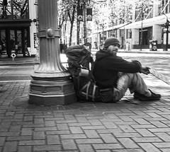 Eye Contact (TMimages PDX) Tags: road street city people urban blackandwhite monochrome buildings portland geotagged photography photo image streetphotography streetscene sidewalk photograph pedestrians pacificnorthwest avenue vignette fineartphotography iphoneography