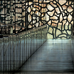 lace work (me*voil) Tags: abstract museum reflections marseille diagonal walkway fassade mucem
