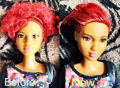 New custom hairstyle inspired by Rihanna :) (French_Disney_Princess) Tags: red hair ooak shaved barbie inspired redhead custom hairstyle mattel sides flocked flocking fashionistas 2016 rihanna