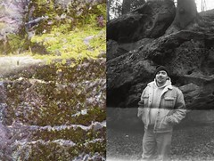 Hannes, 2016 (Mandy Mnzner) Tags: wood portrait man colour texture film colors stone germany deutschland blackwhite friend mood natural outdoor hiking saxony natur sachsen sw mann makro wald wandern fehler moos schsischeschweiz filmphotography schwarzweis filmisnotdead filmforever filmanfang