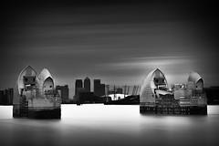 Thames Barrier II (Richard Reader (luciferscage)) Tags: longexposure blackandwhite london monochrome thames river mono o2 canarywharf thamesbarrier