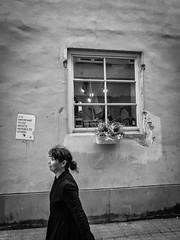 It is important to see... (francescomonacco) Tags: street city flowers people blackandwhite bw woman window way daylight spring fuji streetphotography fujifilm lithuania vilnius x20 wilno wilna
