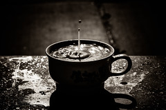 would you like a spot of milk? - 176/366 (auntneecey) Tags: coffee monochrome mono milk splash day176366 366the2016edition 3662016 wouldyoulikeaspotofmilk 24jun16