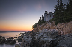 Bass Harbor Lighthouse (MartinSommer) Tags: lighthouse acadia national park maine longexposure seascape landscape nikon water sunset