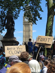 Boris you clown / Fuxit (Andy Worthington) Tags: london leave politics protest streetphotography eu housesofparliament parliament parliamentsquare referendum remain placards sw1 politicalprotest andyworthington borisjohnson londonsw1 eureferendum brexit marchforeurope