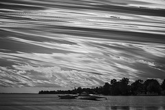 Do Not Adjust Your Tracking (Matt Molloy) Tags: trees sky blackandwhite bw ontario canada motion water clouds landscape fun photography timelapse movement backyard bath distorted filter infrared lakeontario lovelife mattmolloy timeslice
