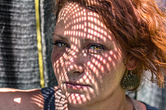 Straining (tonyajbender) Tags: shadow portrait beautiful artistic sister gorgeous creative hazel redhair abstact