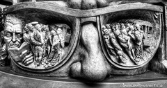 Paul Day's The Meeting Place Frieze, St Pancras Station (AnnieW69) Tags: kingscross paulday hdr 2016 stpancras fujifilm photographytechnique themeetingplace britain hdri british photomatix sculptor bw europe uk anniewilcox thelovers landscape wwwanniewilcoxcouk greatbritain nose anniew69 blackwhite sculpture head fujifilmx100t london ntheeyeofthebeholder accessories frieze fuji fujix100t england glasses july unitedkingdom britishisles