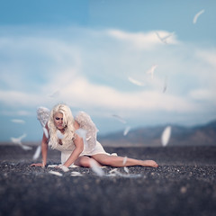 The Flight in the Fall (Ryan Closson) Tags: ryanclosson ryanclossonphotography prescottarizonaphotographer prescottazphotographer arizona arizonaphotographer artistic american america alone blue conceptual conceptualphotography dark fineart fineartphotography jesuschrist journey love live magical nikon photography portraits portraitphotography portrait poetry surreal surrealportraits unitedstates angel feathers guardianangel sexy girl white