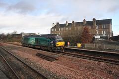 68006 Larbert, Scotland (Paul Emma) Tags: uk railroad train scotland railway locomotive stirlingshire drs diesellocomotive dieseltrain larbert 68006 class68 0z35