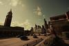 (eflon) Tags: seattle lighting street skyline washington downtown cityscape wideangle wa tones muted bldgs