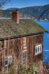 Old House by the Sea - Vancouver Island, BC, Canada (Toad Hollow Photography) Tags: ocean wood old blue sea house canada home water bc view vancouverisland worn vista weathered hdr maplebay
