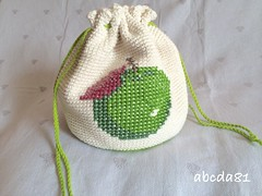 Crochet pouch (PiaPoireChocolat) Tags: baby apple bag children kid crossstitch handmade crochet sac pouch pointdecroix pomme lunchbag crochetbag crochetpouch sacàgoûter