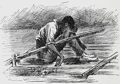 """""""Asleep on the raft."""" Art by E. W. Kemble from """"Adventures of Huckleberry Finn"""" by Mark Twain (1885). First U.S. edition. (lhboudreau) Tags: illustration mississippi book etching drawing illustrations drawings books rafting mississippiriver raft asleep blackman slavery webster slave marktwain bookart 1885 hardcover etchings samuelclemens huckfinn kemble firstedition vintagebook huckleberryfinn hardcovers classicfiction charleswebster hardcoverbooks hardcoverbook adventuresofhuckleberryfinn classicstory runawayslave charleslwebster fugitiveslave classictale negroslave ewkemble firstamericanedition firstusedition asleepontheraft jimasleepontheraft slavejim charleslwebsterco charleslwebsterandcompany"""