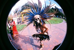 Day of the Dead Dancer (jfpj) Tags: california film dayofthedead lomo dancers toycamera sanjose fisheye plasticcamera 10faves