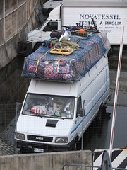 Loaded (stevenbrandist) Tags: travel italy italia genoa genova van ferryterminal loaded iveco travelogue roofrack