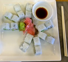 Sushi (taraschnitzer) Tags: pink food white color green sushi ginger yum good uae tasty abudhabi chopsticks wasabi