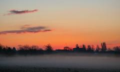 Misty morning sunrise (Peanut1371) Tags: trees sky orange mist clouds sunrise