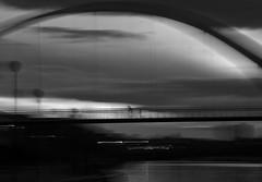 Heading home (northsky) Tags: bridge light blackandwhite bw water monochrome bike river mono evening cycle stockton tees