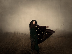 Run With Me (Maren Klemp) Tags: sky woman mist painterly color texture nature field grass fog fairytale clouds vintage butterfly outdoors coat dream butterflies running expressive nostalgic dreamy melancholy straws symbolic fineartphotography darkart evocative fineartphotographer darkartphotography