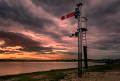 The Billy Stop (Sunset Snapper) Tags: uk sunset sea sky water clouds nikon colours post harbour haylingisland may railway hampshire lee nd land grad southcoast railwaysignal langstone 2016 2470mm d810 sunsetsnapper longexposurefilter littlestopper thebillystop billylinesignalpost