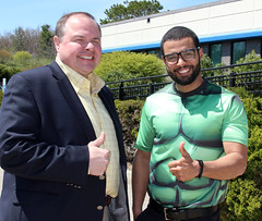 "Clark Kent in a Kevin More suit with Youssef the ""HULK"".."